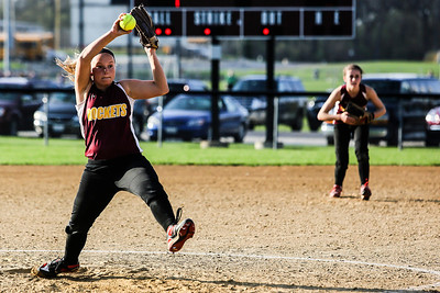 Lathan Goumas - lgoumas@shawmedia.com Haylea Hoskins of Richmond-Burton High School delivers a pitch to home during a game against Marengo High School in Richmond, Ill. on Wednesday, May 01, 2013. Marengo defeated Richmond-Burton 14-7.
