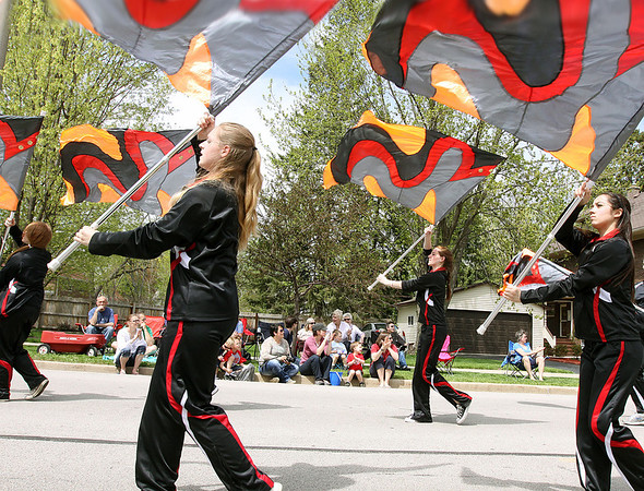 Jeff Krage – For Shaw Media<br /> The Batavia High School flag team marches in Sunday's Loyalty Day parade.<br /> Batavia 5/5/13