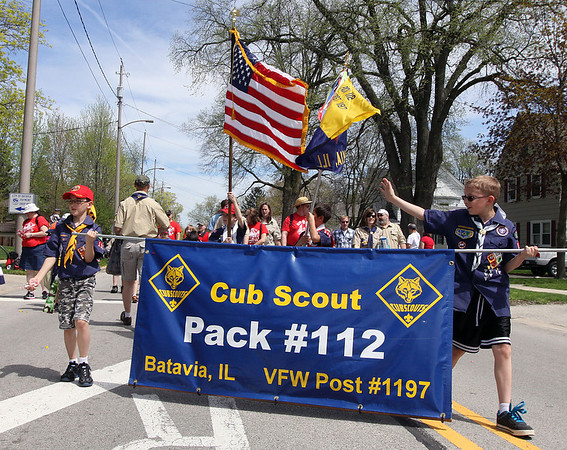 Jeff Krage – For Shaw Media<br /> Cub Scout pack 112 marches in Sunday's Loyalty Day parade.<br /> Batavia 5/5/13