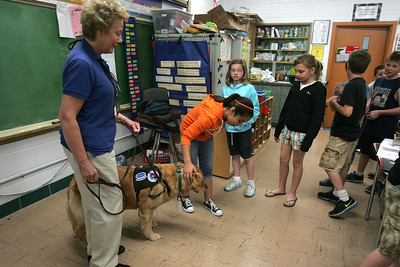 H. Rick Bamman -hbamman@shawmedia.com  Therapy dog owner Patty Reigle of Woodstock and  her Golden Retriever Carly meet stidents in Nancy Eike's fourth grade class at Jefferson Elementary School in Harvard.