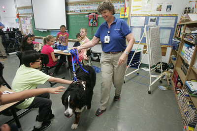 H. Rick Bamman -hbamman@shawmedia.com  Therapy dog owner Jan Spittler of Woodstock and Diesel her 2-year-old Bernese Mountain Dog visit Paz Garcia's 4th grade class at Jefferson Elementary School in Harvard.