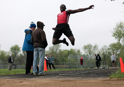 Kyle Grillot - kgrillot@shawmedia.com   Huntley freshman Tim McCloyn competes in the long jump event during the Fox Valley Conference boys track meet Friday at Cary-Grove High School.