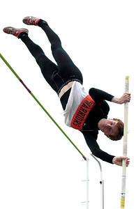 Kyle Grillot - kgrillot@shawmedia.com   McHenry Senior Nate Richartz competes in the pole vault event during the Fox Valley Conference boys track Friday at Cary-Grove High School.