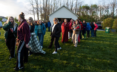 Kyle Grillot - kgrillot@shawmedia.com   Participants wait in line for food and beverages during the PADS Sleep Out for Shelter event at  Living Waters Church Saturday, May 11, 2013. The event is in it's fourth year, and it's the biggest fundraiser for PADS where participants are encouraged to sleep in shelters or tents.