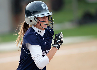Kyle Grillot - kgrillot@shawmedia.com   Cary-Grove freshman Erin Olson runs for first base during the girls softball game at Prairie Ridge high school Monday, May 12, 2013.