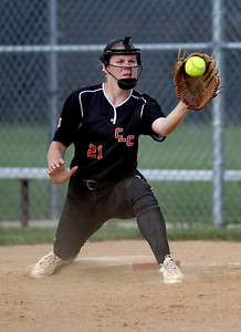Sarah Nader - snader@shawmedia.com Crystal Lake Central's Sara McConnell catches a pass while playing first base during Thursday's game against Johnsburg in Crystal Lake on May 16, 2013. Crystal Lake Central won, 8-0.