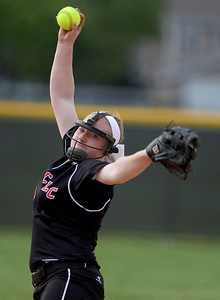 Sarah Nader - snader@shawmedia.com Crystal Lake Central's Megan Mahaffy pitches during Thursday's game against Johnsburgl in Crystal Lake on May 16, 2013. Crystal Lake Central won, 8-0.