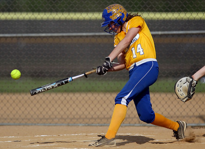 Sarah Nader - snader@shawmedia.com Johnsburg's Kayla Toussaint makes contact with the ball during Thursday's game against Crystal Lake Central in Crystal Lake on May 16, 2013. Crystal Lake Central won, 8-0.