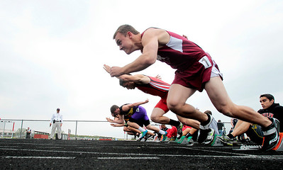 Kyle Grillot - kgrillot@shawmedia.com   Prairie Ridge sophomore Brent Anderson takes off at the start of the boys 100-meter dash during the class 3A sectional at Huntley high school Friday, May 17, 2013.