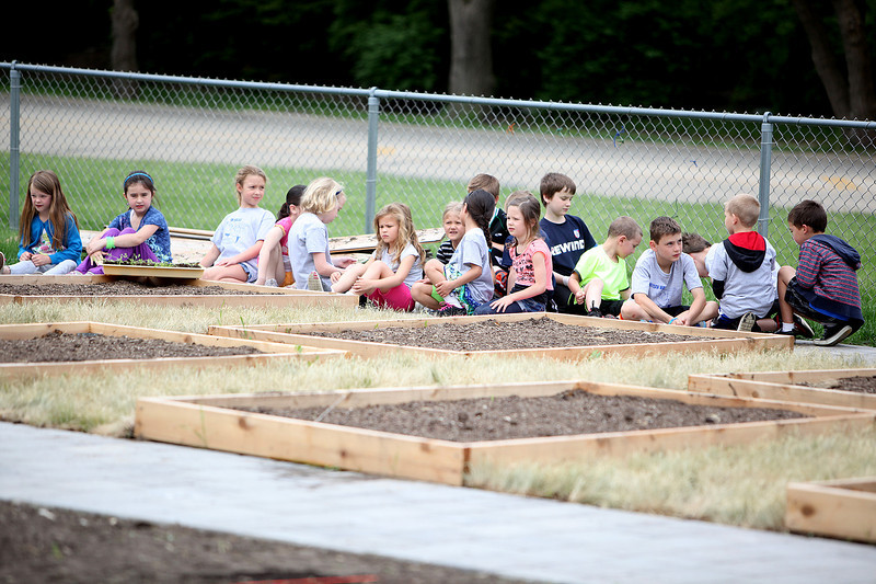 Students at Western Elementary School in Geneva plant their Edible Schoolyard Friday. The garden will include heirloom pumpkins, gourds and carrots. Much of the garden was donated by Great Impressions, a division of Sebert Landscaping, Geneva resident Jay Womack, a landscape architect, Paveloc and Midwest Groundcovers.