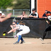 St. Charles North's Abby Howlett gets an out at first base during their game at St. Charles East Tuesday.