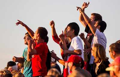 Kyle Grillot - kgrillot@shawmedia.com   Huntley Fans cheer on the team during the second half of the girls regional soccer game at Jacobs high school Tuesday.