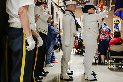 Lathan Goumas - lgoumas@shawmedia.com The Captain James A. Lovell Honor Guard prepares of the presentation of the colors during a program honoring veterans and active military personnel at the Special Education District of McHenry County campus in Woodstock, Ill. on Friday, May 24, 2013.