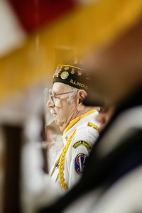 Lathan Goumas - lgoumas@shawmedia.com Retired United States Army Private First Class Frank Frednoble, of Woodstock, salutes during a program honoring veterans and active military personnel at the Special Education District of McHenry County campus in Woodstock, Ill. on Friday, May 24, 2013.