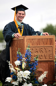 Kyle Grillot - kgrillot@shawmedia.com   Valedictorian Ryan M. DiCicco gives his speech during the Cary-Grove High School commencement Saturday at Al Bohrer Athletic Field.