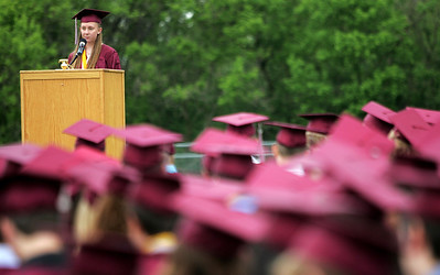 Kyle Grillot - kgrillot@shawmedia.com   Valedictorian Amanda Weber gives her speech during the Prairie Ridge High School commencement Saturday at the Prairie Ridge football field.