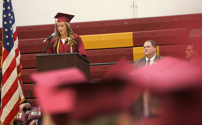 Kyle Grillot - kgrillot@shawmedia.com   Class President Jordan Eisenberg gives her speech during the Richmond-Burton Community High School commencement on Sunday, May 26, 2013.