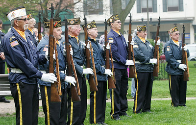 Kyle Grillot - kgrillot@shawmedia.com   The VFW 5040 color guard before the start of the Woodstock Memorial Day parade at Woodstock Square Monday, May 27, 2013.