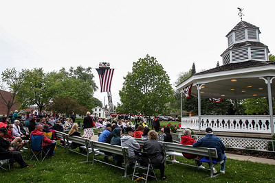 Sarah Nader - snader@shawmedia.com People gather at Veteran's Park in McHenry for the Memorial Day Ceremony on Monday, May 27, 2013.