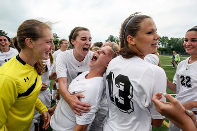 Sarah Nader - snader@shawmedia.com Prairie Ridge's Kelsey Bear (left) and Becca Hoklas celebrate after Prairie Ridge won Tuesday's IHSA Class 2A Barrington Supersectional against Lake Forest in Barrington May 28, 2013. Prairie Ridge won, 1-0.