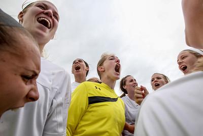 Sarah Nader - snader@shawmedia.com The Prairie Ridge soccer team celebrates after winning Tuesday's IHSA Class 2A Barrington Supersectional against Lake Forest in Barrington May 28, 2013. Prairie Ridge won, 1-0.