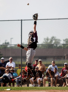 Sarah Nader - snader@shawmedia.com Prairie Ridge's Dustin Thelander during Wednesday's Class 4A Huntley Sectional baseball semifinal against Dundee-Crown on May 29, 2013. Dundee-Crown won, 15-4.