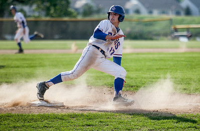Sarah Nader - snader@shawmedia.com Dundee-Crown's Zach Girard runs pass third to score a run during the second inning of Wednesday's Class 4A Huntley Sectional baseball semifinal against Prairie Ridge on May 29, 2013. Dundee-Crown won, 15-4.