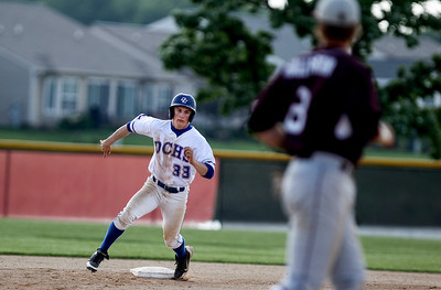 Sarah Nader - snader@shawmedia.com Dundee-Crown's Chase Bloch rounds second base during the first inning of Wednesday's Class 4A Huntley Sectional baseball semifinal against Prairie Ridge on May 29, 2013. Dundee-Crown won, 15-4.