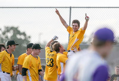 Sarah Nader - snader@shawmedia.com Jacobs' Matt Hickey is lifted up by his teammates after the team won Thursday's IHSA Class 4A Baseball Sectional Tournament against Hononegah in Huntley on May 31, 2013. Jacobs' defeated Hononegah, 3-2.