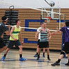 The St. Charles North boy's volleyball team practices Thursday at the St. Charles North gymnasium.