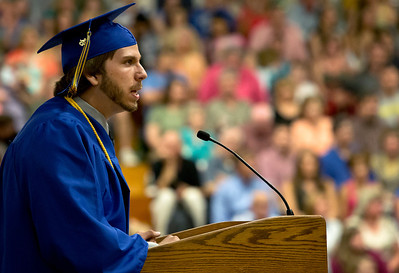 Brett Moist/ for the Northwest Herald  Class President Jesse Reitz addresses his fellow graduates during the Johnsburg High school commencement on Friday.