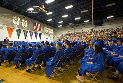 Brett Moist/ for the Northwest Herald  Johnsburg High School Principal Kevin Shelton addresses this years graduates during the Johnsburg High school commencement on Friday.