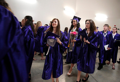 Kyle Grillot - kgrillot@shawmedia.com   Hampshire students exit the arena of the Sears Centre after the Hampshire Commencement Saturday.