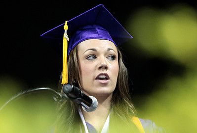Kyle Grillot - kgrillot@shawmedia.com   Valedictorian Keeley Sawyer gives her speech during the Hampshire Commencement Saturday at the Sears Centre.
