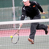 St. Charles East's Jasper Koenen returns the ball during his first round match in the IHSA Boys State Tennis Tournament against Aaron Meyers of Effingham at Hersey High School in Arlington Heights Thursday.
