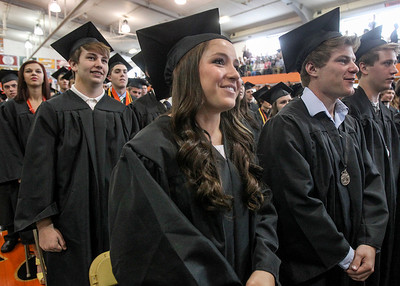 Sarah Nader - snader@shawmedia.com Graduate Bianca Bialk sings the school song with her classmates during the 2013 Crystal Lake Central High School commencement on Saturday, May 25, 2013.