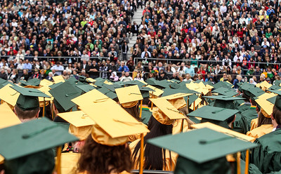 Sarah Nader - snader@shawmedia.com Graduates listen to speeches during the 2013 Crystal Lake South High School commencement on Saturday, May 25, 2013. 457 students graduated during the ceremony.