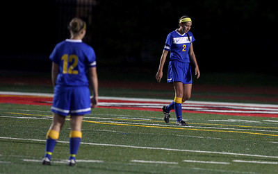 Sarah Nader - snader@shawmedia.com Johnsburg's Abbi Ullrich (right) reacts after her team lost Friday's IHSA 1A State Girls Soccer Semifinal against Notre Dame in Naperville on May 24, 2013. Johnsburg lost, 2-5.