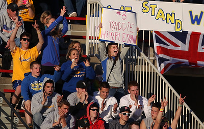 Sarah Nader - snader@shawmedia.com Fans cheer for Johnsburg during Friday's IHSA 1A State Girls Soccer Semifinal against Notre Dame in Naperville on May 24, 2013. Johnsburg lost, 2-5.