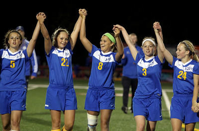 Sarah Nader - snader@shawmedia.com The Johnsburgs' soccer team greets their fans after losing  Friday's IHSA 1A State Girls Soccer Semifinal against Notre Damein Naperville on May 24, 2013. Johnsburg lost, 2-5.