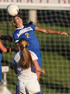 Sarah Nader - snader@shawmedia.com Johnsburg's Abbi Ullrich heads the ball during the first half of Friday's IHSA 1A State Girls Soccer Semifinal against Notre Dame in Naperville on May 24, 2013. Johnsburg lost, 2-5.