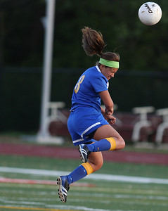 Sarah Nader - snader@shawmedia.com Johnsburg's Maddie Himplemann heads the ball during the first half of Friday's IHSA 1A State Girls Soccer Semifinal against Notre Dame in Naperville on May 24, 2013. Johnsburg lost, 2-5.