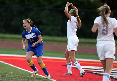 Sarah Nader - snader@shawmedia.com Johnsburg's Delaney Pruittc celebrates a goal during the first half of Friday's IHSA 1A State Girls Soccer Semifinal against Notre Dame in Naperville on May 24, 2013. Johnsburg lost, 2-5.