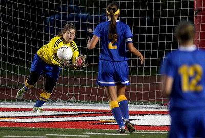 Sarah Nader - snader@shawmedia.com Johnsburg's Kadie Calymeyer dives for the ball during the second half of Friday's IHSA 1A State Girls Soccer Semifinal against Notre Dame in Naperville on May 24, 2013. Johnsburg lost, 2-5.