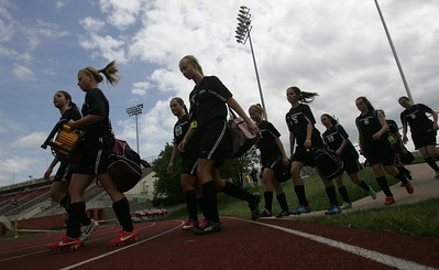 The Prairie Ridge Wolves enter Benedetti-Wehrli Stadium at NorthCentral College to take on Lemont in the Class 2A State Soccer semifinal match Friday, May 31, 2013 in Naperville. H. Rick Bamman - hbamman@shawmedia.com