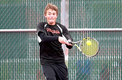 Crystal Lake Central's Danny Nelson returns the ball during his first round match in the IHSA Boys State Tennis Tournament against Brandon Wozniczka of Taft High School at Hersey High School in Arlington Heights Thursday.