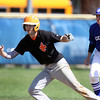 Jeff Krage – For Shaw Media<br /> Trailing 3-2 in the 7th inning in game one of Saturday's doubleheader in Geneva, St. Charles East's Reid Olson, a potential tying runner, leads off second base in front of Geneva shortstop Nick Derr. Olson was stranded at second as the Saints lost 3-2.<br /> Geneva 5/3/14