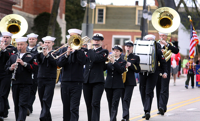 Jeff Krage – For Shaw Media<br /> Navy Band Great Lakes marches in Sunday's Loyalty Day Parade in Batavia.<br /> Batavia 5/4/14