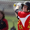 Jeff Krage – For Shaw Media<br /> Batavia's Reagan McReynolds fouls off a pitch in game one during Saturday's doubleheader against at Geneva. <br /> Geneva 5/10/14