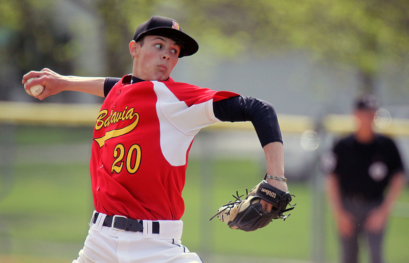 Jeff Krage – For Shaw Media<br /> Batavia's Colby Green pitches in game one during Saturday's doubleheader at Geneva. <br /> Geneva 5/10/14